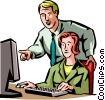 Vector Clip Art image  of a man and woman working on her