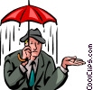 Vector Clip Art graphic  of a Businessman caught in the rain