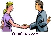 Vector Clip Art picture  of a shaking hands with crossed