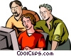 Office workers observing colleagues work Vector Clip Art graphic