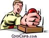 Vector Clip Art graphic  of a man using rubber stamp on