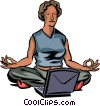 Vector Clipart graphic  of a doing yoga in front of her computer