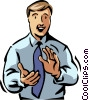 Vector Clip Art graphic  of a businessman clapping
