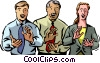 Vector Clip Art graphic  of a businessmen and women clapping