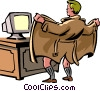 Man Flashing his computer Vector Clipart graphic