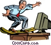 Vector Clip Art graphic  of a businessman surfing on his