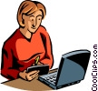 Vector Clipart illustration  of a Woman working on her notebook