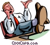 man chatting on his cell phone with feet up Vector Clip Art graphic