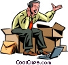 Vector Clipart image  of a man working on his computer