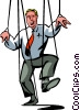 Vector Clip Art image  of a businessman puppet