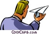 businessman with a paper airplane Vector Clipart picture