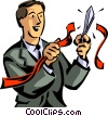Vector Clip Art graphic  of a businessman cutting through