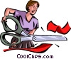 businesswoman cutting through red tape Vector Clipart image