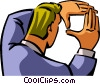 Vector Clipart picture  of a businessman planning a