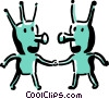 aliens shaking hands Vector Clipart illustration
