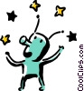 Vector Clipart graphic  of an alien juggling stars