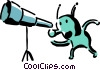 Vector Clip Art image  of an alien looking through a