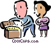 Vector Clip Art graphic  of a couple with treasure chest