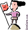 Vector Clipart graphic  of a woman holding flag at the