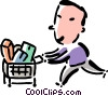 Vector Clip Art graphic  of a man grocery shopping