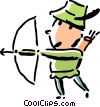 Robin Hood with his bow and arrow Vector Clip Art picture