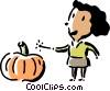 Vector Clipart image  of a woman with magic wand and