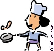 Vector Clipart graphic  of a chef flipping an omelet