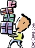 boy carrying his birthday gifts Vector Clipart picture