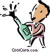 man popping the cork on a champagne bottle Vector Clip Art picture