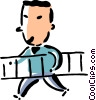 man walking with a ladder Vector Clip Art picture