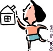 Vector Clip Art image  of a woman and a house