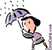 Vector Clipart picture  of a woman caught in the rain