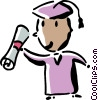 Vector Clip Art image  of a graduate with his diploma