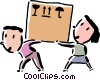 Vector Clip Art image  of a man and woman carrying a