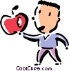 boy with an apple Vector Clipart graphic
