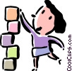 woman stacking blocks Vector Clipart graphic