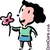 Vector Clipart illustration  of a woman with a flower