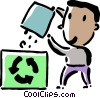 Vector Clip Art image  of a man recycling paper