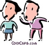 man telling a woman a secret Vector Clipart graphic