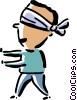 man blindfolded Vector Clip Art picture