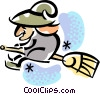 Witch flying on her broom Vector Clipart picture