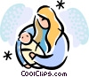 Vector Clipart graphic  of a Pregnancy and Newborn Babies