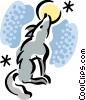Wolf howling at the moon Vector Clipart illustration