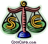 Vector Clip Art graphic  of a currency symbols being weighed