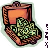 Vector Clipart graphic  of a briefcase full of money