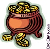 Vector Clip Art graphic  of a pot of coins