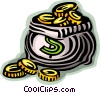 Vector Clip Art image  of a Bag of coins