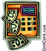 Vector Clipart graphic  of a money coming out of a bank