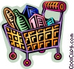 Vector Clipart illustration  of a Shopping cart filled with food