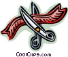 cutting a red ribbon Vector Clip Art picture